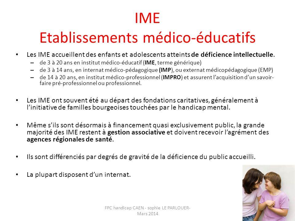 IME Etablissements médico-éducatifs • Les IME accueillent des enfants et adolescents atteints de déficience intellectuelle. – de 3 à 20 ans en institu