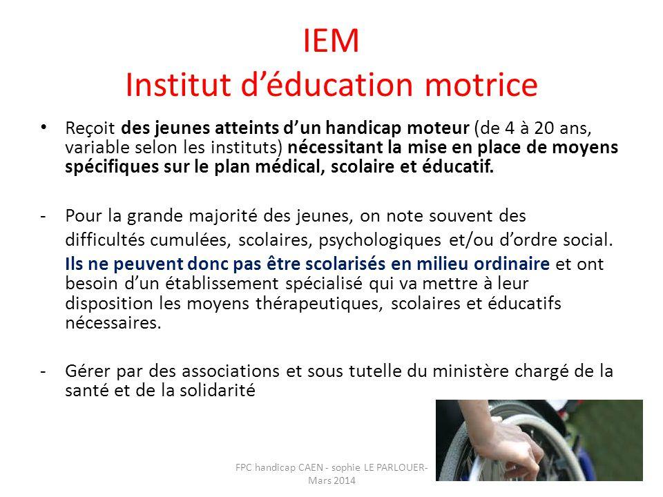 IEM Institut d'éducation motrice • Reçoit des jeunes atteints d'un handicap moteur (de 4 à 20 ans, variable selon les instituts) nécessitant la mise e