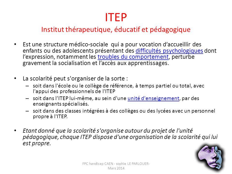 ITEP Institut thérapeutique, éducatif et pédagogique • Est une structure médico-sociale qui a pour vocation d'accueillir des enfants ou des adolescent