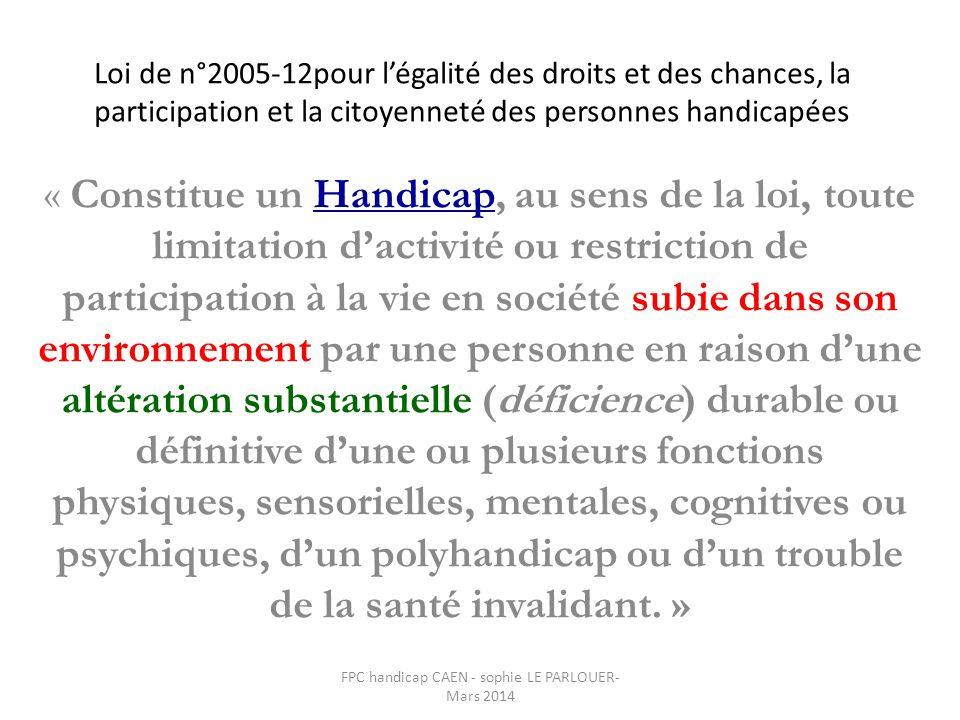 Loi de n°2005-12pour l'égalité des droits et des chances, la participation et la citoyenneté des personnes handicapées « Constitue un Handicap, au sen