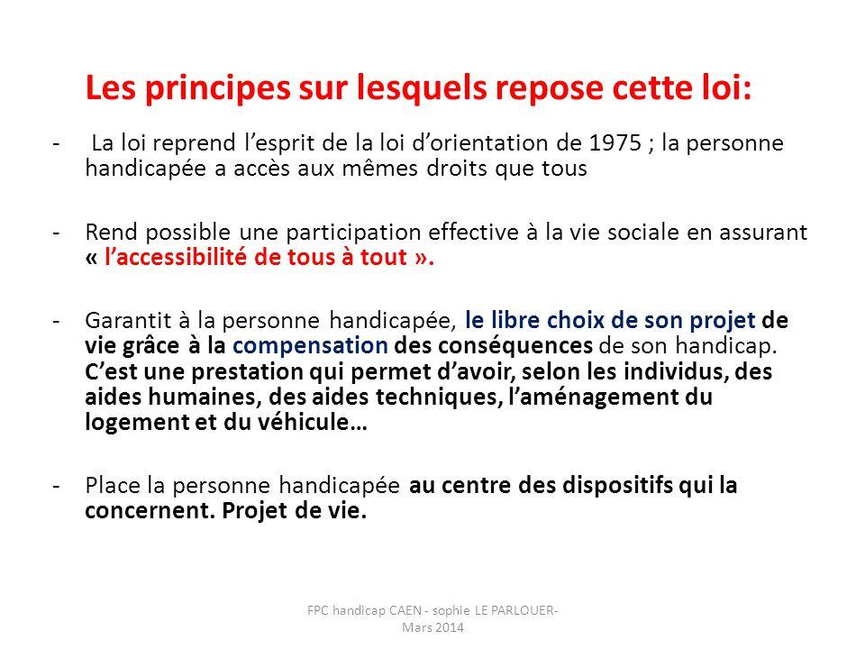 - La loi reprend l'esprit de la loi d'orientation de 1975 ; la personne handicapée a accès aux mêmes droits que tous -Rend possible une participation