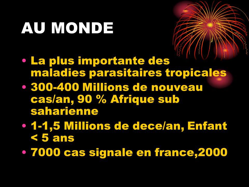 AU MONDE •La plus importante des maladies parasitaires tropicales •300-400 Millions de nouveau cas/an, 90 % Afrique sub saharienne •1-1,5 Millions de dece/an, Enfant < 5 ans •7000 cas signale en france,2000