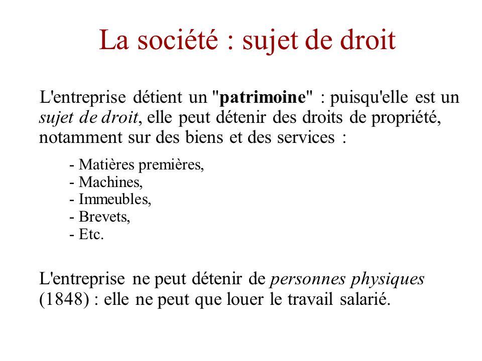La société : sujet de droit •La personne physique (depuis 1848 en France) ne peut être que sujet de droit… la table ne peut être qu objet de droit.
