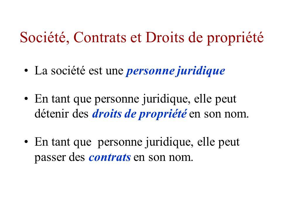 La société : sujet de droit L entreprise détient un patrimoine : puisqu elle est un sujet de droit, elle peut détenir des droits de propriété, notamment sur des biens et des services : - Matières premières, - Machines, - Immeubles, - Brevets, - Etc.