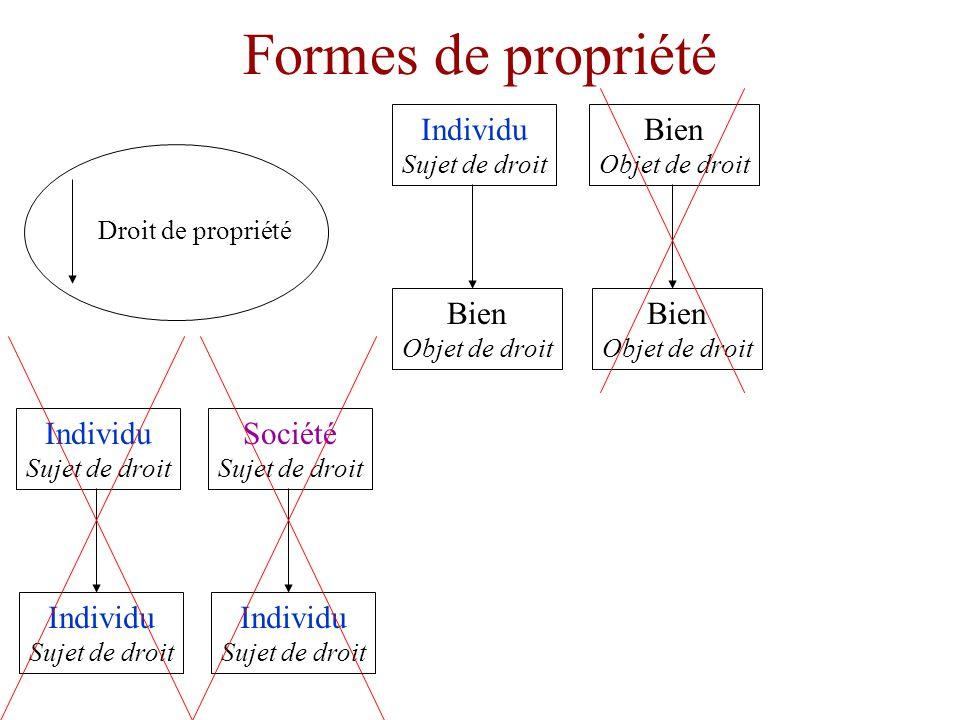 Formes de propriété Individu Sujet de droit Bien Objet de droit Droit de propriété Bien Objet de droit Bien Objet de droit Individu Sujet de droit Individu Sujet de droit
