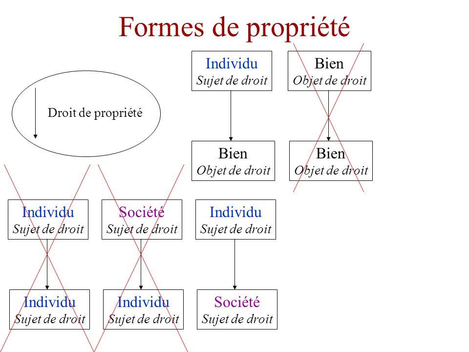 Formes de propriété Individu Sujet de droit Bien Objet de droit Société Sujet de droit Individu Sujet de droit Droit de propriété Bien Objet de droit Bien Objet de droit Individu Sujet de droit Individu Sujet de droit