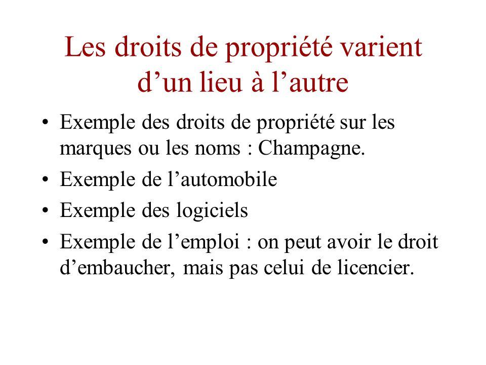 Les droits de propriété varient d'une époque à l'autre •L'exemple de la voiture automobile •L'exemple de la propriété artistique •L'exemple de la propriété technologique