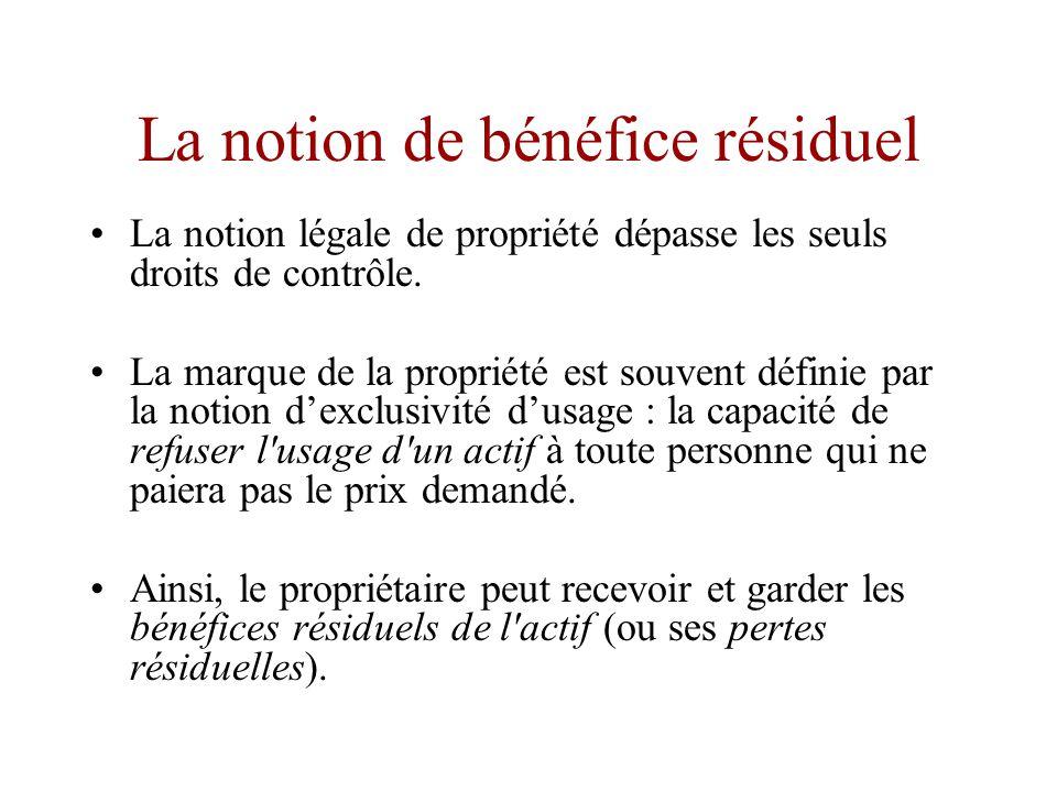 Notion de contrôle résiduel •L analyse économique interprète la propriété d un actif comme un droit de contrôle résiduel.