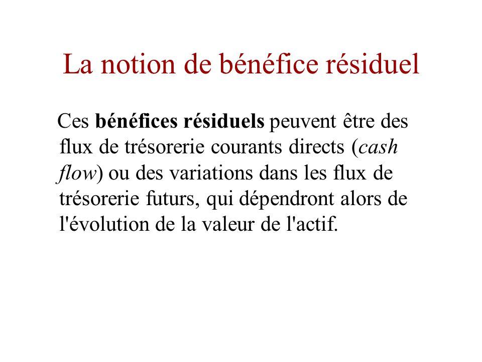 La notion de bénéfice résiduel •La notion légale de propriété dépasse les seuls droits de contrôle.