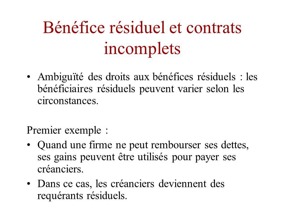 Bénéfice résiduel et contrats incomplets •Tout comme le contrôle résiduel, la notion de bénéfice résiduel est intimement liée à celle de contrat incomplet.