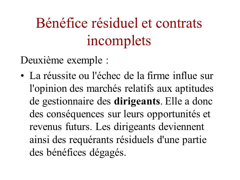 Bénéfice résiduel et contrats incomplets •Ambiguïté des droits aux bénéfices résiduels : les bénéficiaires résiduels peuvent varier selon les circonstances.
