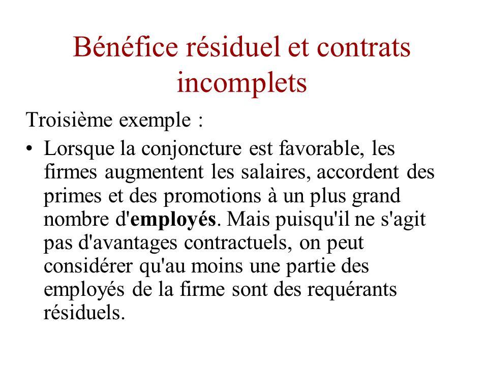 Bénéfice résiduel et contrats incomplets Deuxième exemple : •La réussite ou l échec de la firme influe sur l opinion des marchés relatifs aux aptitudes de gestionnaire des dirigeants.