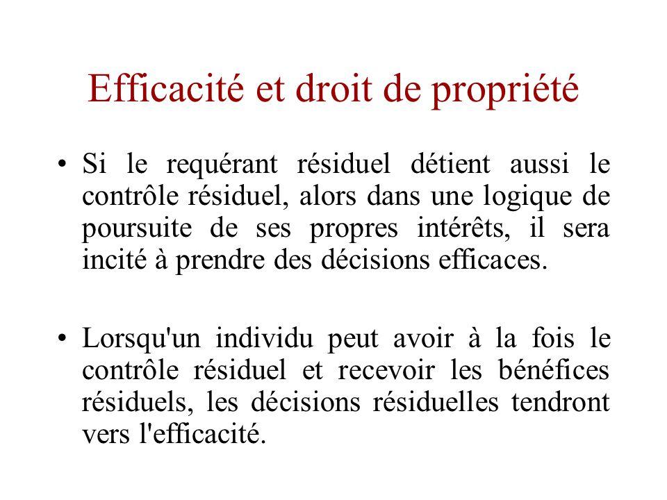 Efficacité et droit de propriété •Pour l'économie contemporaine, une source importante de l'efficacité des droits de propriété, dans un contexte de contrats incomplets, réside dans la mise en adéquation des droits de contrôle résiduels et des droits de bénéfices résiduels.