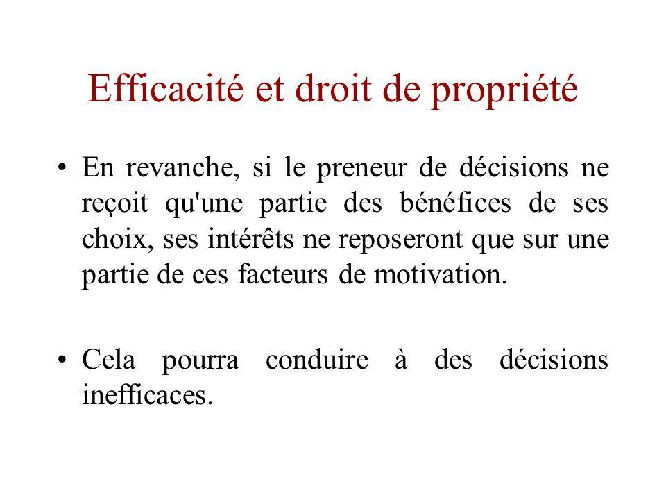 Efficacité et droit de propriété •Si le requérant résiduel détient aussi le contrôle résiduel, alors dans une logique de poursuite de ses propres intérêts, il sera incité à prendre des décisions efficaces.