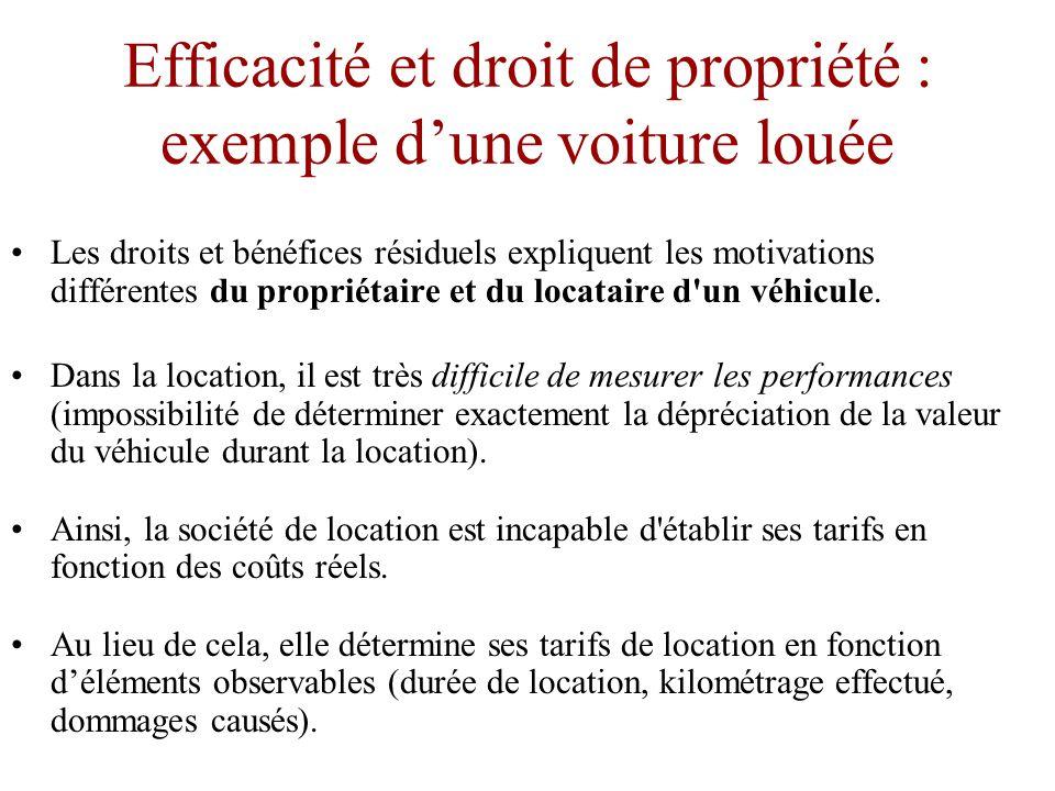 Efficacité et droit de propriété •En revanche, si le preneur de décisions ne reçoit qu une partie des bénéfices de ses choix, ses intérêts ne reposeront que sur une partie de ces facteurs de motivation.