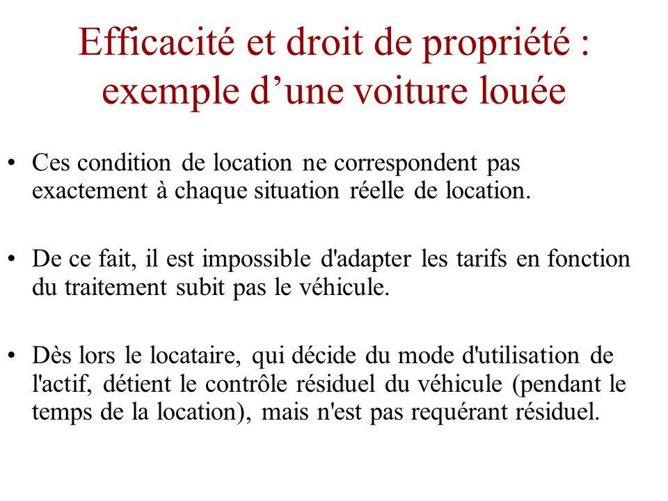 Efficacité et droit de propriété : exemple d'une voiture louée •Les droits et bénéfices résiduels expliquent les motivations différentes du propriétaire et du locataire d un véhicule.