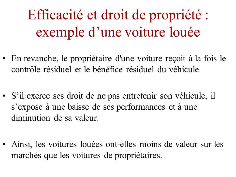 Efficacité et droit de propriété : exemple d'une voiture louée •Ces condition de location ne correspondent pas exactement à chaque situation réelle de location.