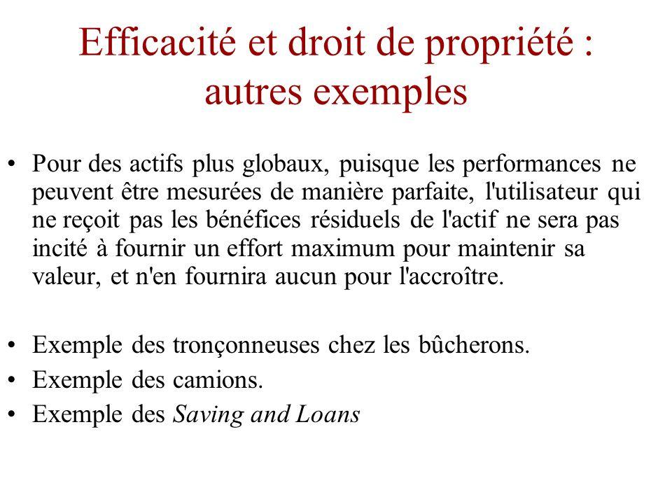 Efficacité et droit de propriété : exemple d'une voiture louée •En revanche, le propriétaire d une voiture reçoit à la fois le contrôle résiduel et le bénéfice résiduel du véhicule.