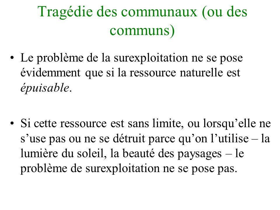 Tragédie des communaux (ou des communs) •Une ressource commune existante a tendance à être surexploitée.