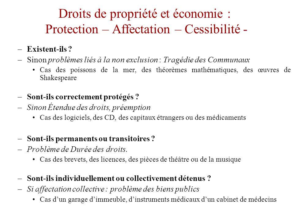 Protection – Affectation – Cessibilité •La caractérisation des droits de propriété est un élément important de l'efficacité.