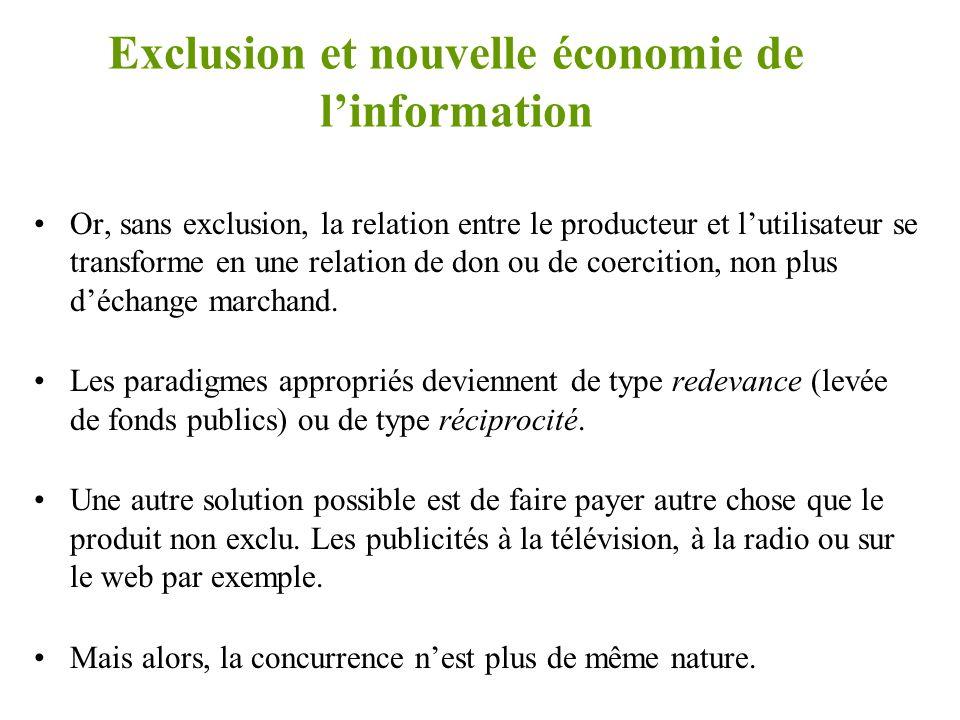Exclusion et nouvelle économie de l'information •Dans le nouvelle économie de l'information, le propriétaire d'un bien ne peut pas facilement et sans frais exclure l'usage illégal de ce bien.