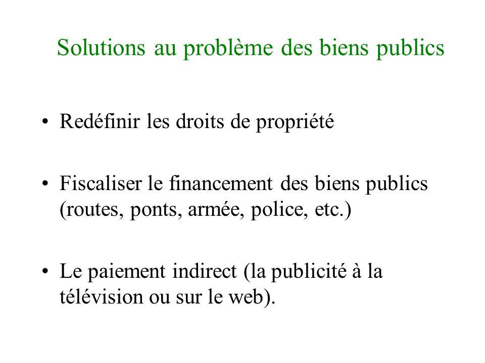 Solutions au problèmes des biens publics •Peut-on compter sur des comportements naturellement collectifs pour éliminer le comportement de passager clandestin .