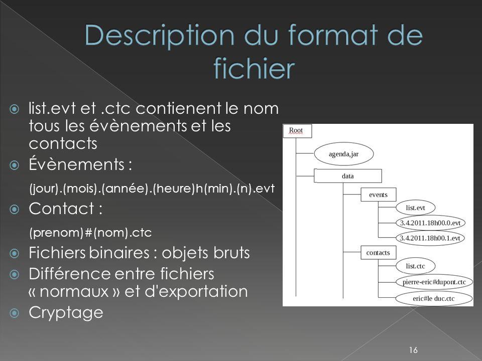 list.evt et.ctc contienent le nom tous les évènements et les contacts  Évènements : (jour).(mois).(année).(heure)h(min).(n).evt  Contact : (prenom)#(nom).ctc  Fichiers binaires : objets bruts  Différence entre fichiers « normaux » et d exportation  Cryptage 16
