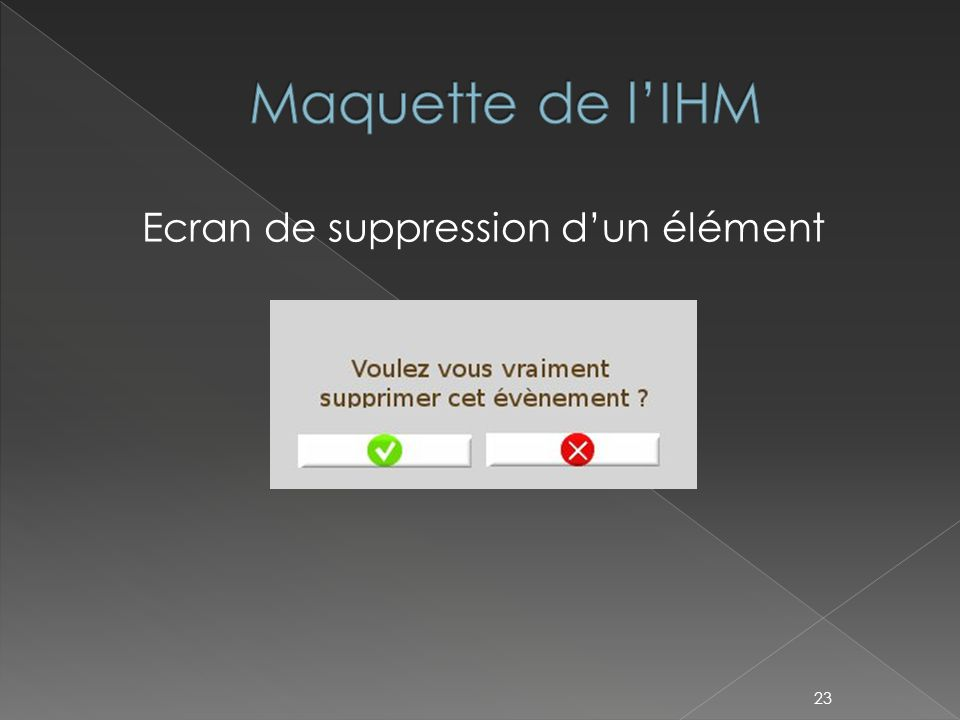 Ecran de suppression d'un élément 23