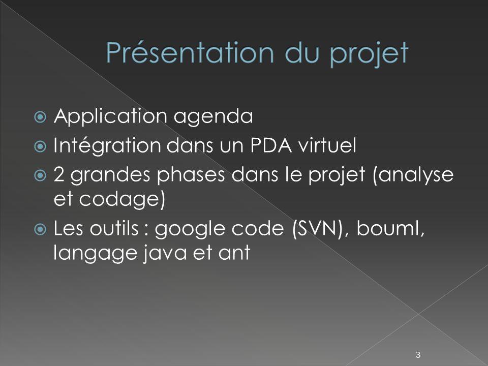  Application agenda  Intégration dans un PDA virtuel  2 grandes phases dans le projet (analyse et codage)  Les outils : google code (SVN), bouml, langage java et ant 3
