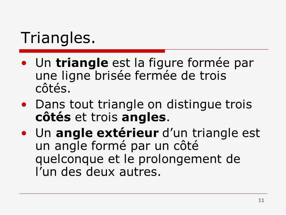 11 Triangles. •Un triangle est la figure formée par une ligne brisée fermée de trois côtés. •Dans tout triangle on distingue trois côtés et trois angl