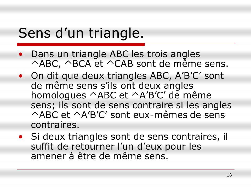 18 Sens d'un triangle. •Dans un triangle ABC les trois angles  ABC,  BCA et  CAB sont de même sens. •On dit que deux triangles ABC, A'B'C' sont de