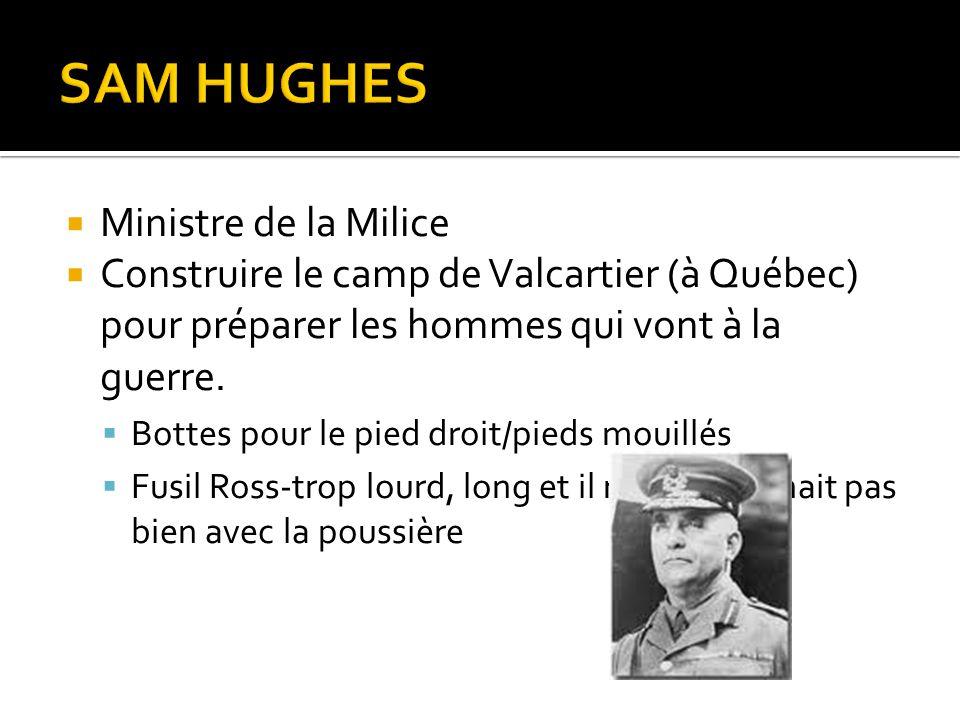  Ministre de la Milice  Construire le camp de Valcartier (à Québec) pour préparer les hommes qui vont à la guerre.  Bottes pour le pied droit/pieds