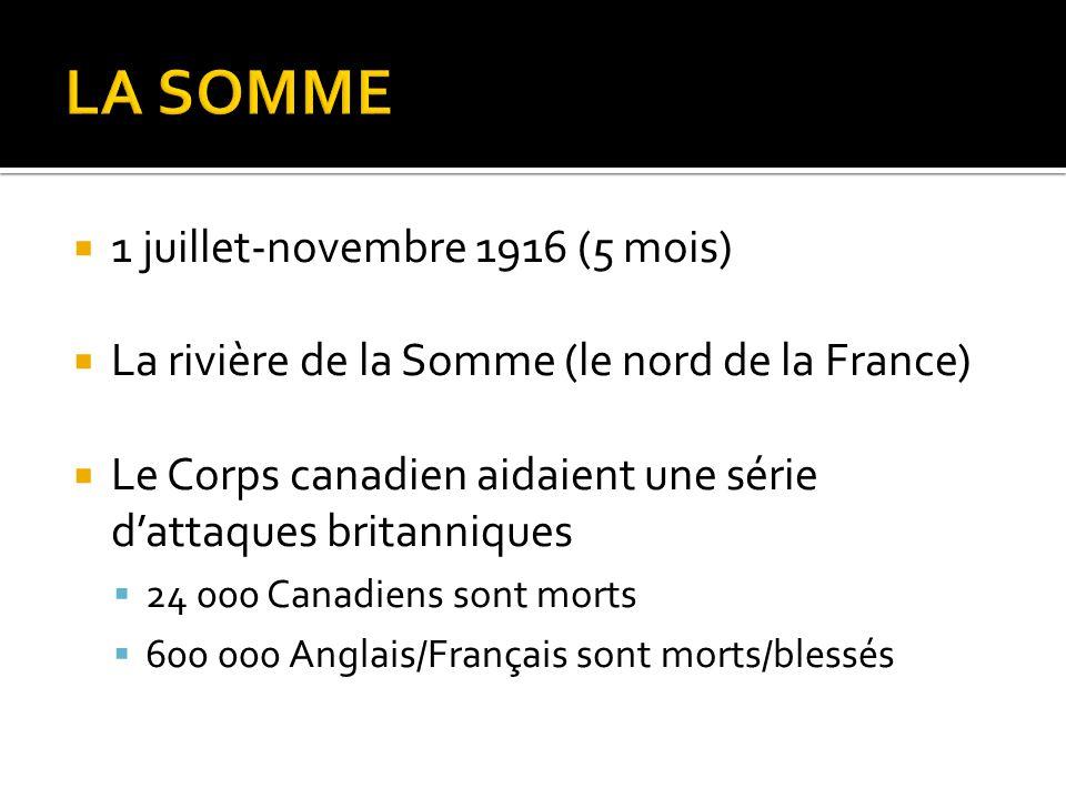 1 juillet-novembre 1916 (5 mois)  La rivière de la Somme (le nord de la France)  Le Corps canadien aidaient une série d'attaques britanniques  24