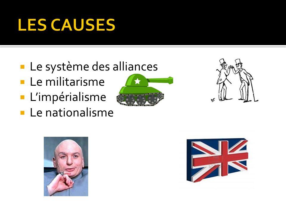  Le système des alliances  Le militarisme  L'impérialisme  Le nationalisme