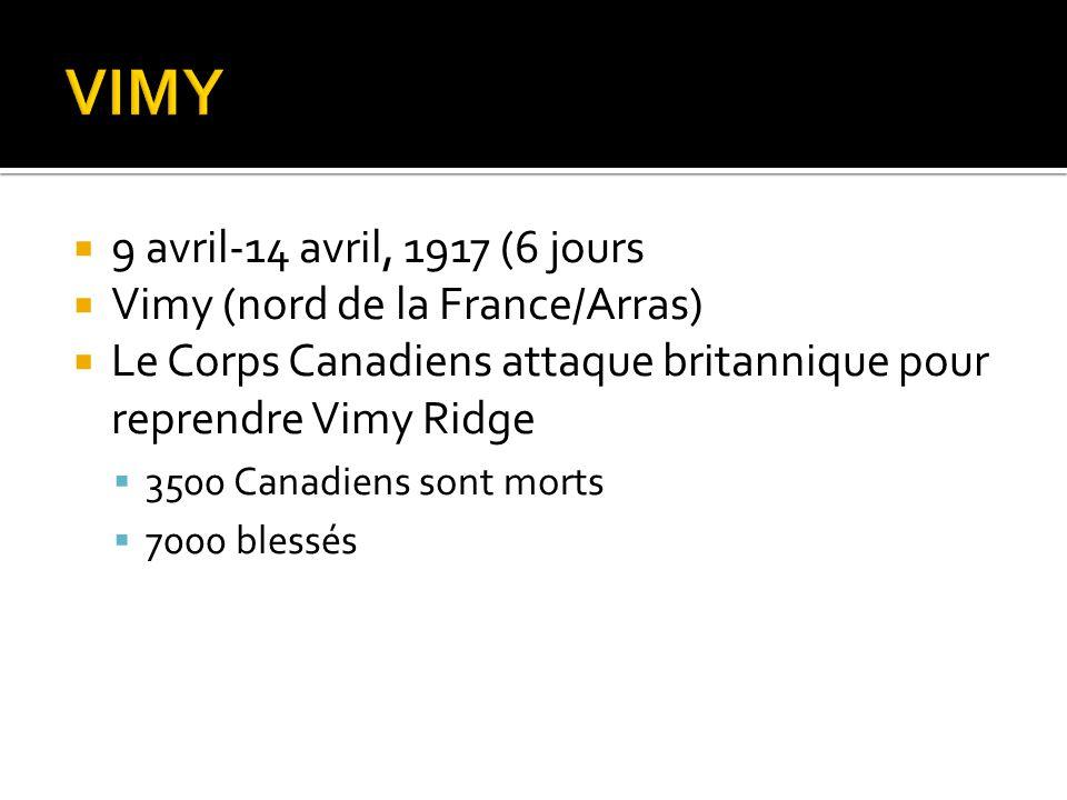  9 avril-14 avril, 1917 (6 jours  Vimy (nord de la France/Arras)  Le Corps Canadiens attaque britannique pour reprendre Vimy Ridge  3500 Canadiens