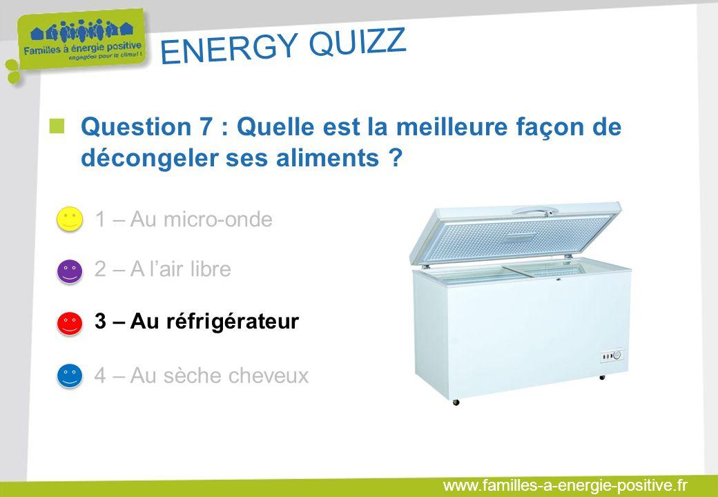 www.familles-a-energie-positive.fr ENERGY QUIZZ  Question 7 : Quelle est la meilleure façon de décongeler ses aliments .