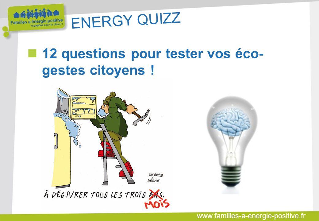 www.familles-a-energie-positive.fr ENERGY QUIZZ  Question 6 : Laquelle de ces affirmations est vraie : 1 - En ville, pour faire 2 km, la voiture est plus rapide que le vélo 2 - Pour faire 1000 km, le bilan énergie est plus élevé en prenant l avion que sa voiture 3 - Il est plus dangereux de rouler en voiture qu à vélo 4 – En France, la moyenne des passagers par véhicule pour les trajets domicile de travail est de 1,8 personnes/véhicule