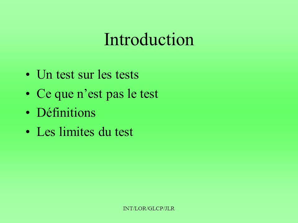 INT/LOR/GLCP/JLR Introduction •Un test sur les tests •Ce que n'est pas le test •Définitions •Les limites du test