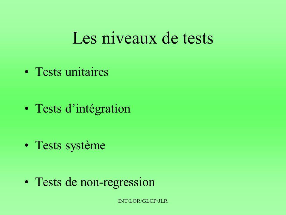 INT/LOR/GLCP/JLR Les niveaux de tests •Tests unitaires •Tests d'intégration •Tests système •Tests de non-regression