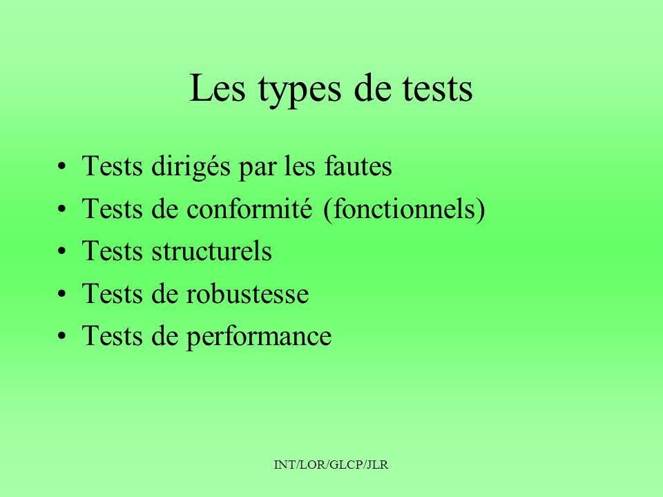 INT/LOR/GLCP/JLR Les types de tests •Tests dirigés par les fautes •Tests de conformité (fonctionnels) •Tests structurels •Tests de robustesse •Tests de performance