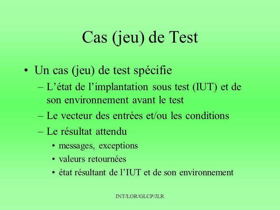INT/LOR/GLCP/JLR Cas (jeu) de Test •Un cas (jeu) de test spécifie –L'état de l'implantation sous test (IUT) et de son environnement avant le test –Le vecteur des entrées et/ou les conditions –Le résultat attendu •messages, exceptions •valeurs retournées •état résultant de l'IUT et de son environnement