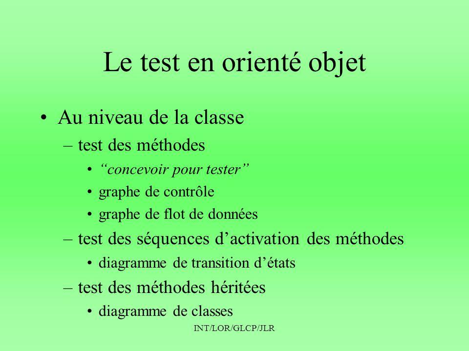 INT/LOR/GLCP/JLR Le test en orienté objet •Au niveau de la classe –test des méthodes • concevoir pour tester •graphe de contrôle •graphe de flot de données –test des séquences d'activation des méthodes •diagramme de transition d'états –test des méthodes héritées •diagramme de classes