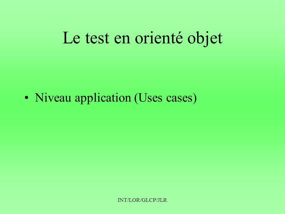 INT/LOR/GLCP/JLR Le test en orienté objet •Niveau application (Uses cases)