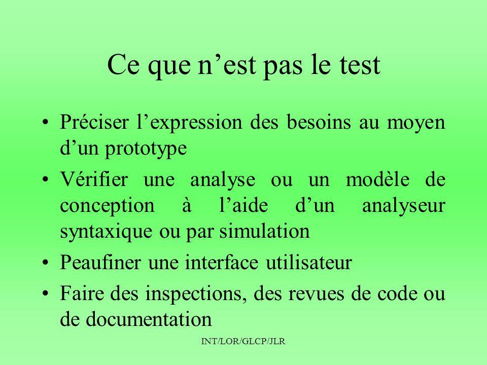 INT/LOR/GLCP/JLR Ce que n'est pas le test •Effectuer une analyse statique du code (avec lint par exemple) •Avoir une compilation sans erreurs ni warnings •Utiliser des analyseurs dynamiques pour identifier des problèmes de mémoire •Debugguer