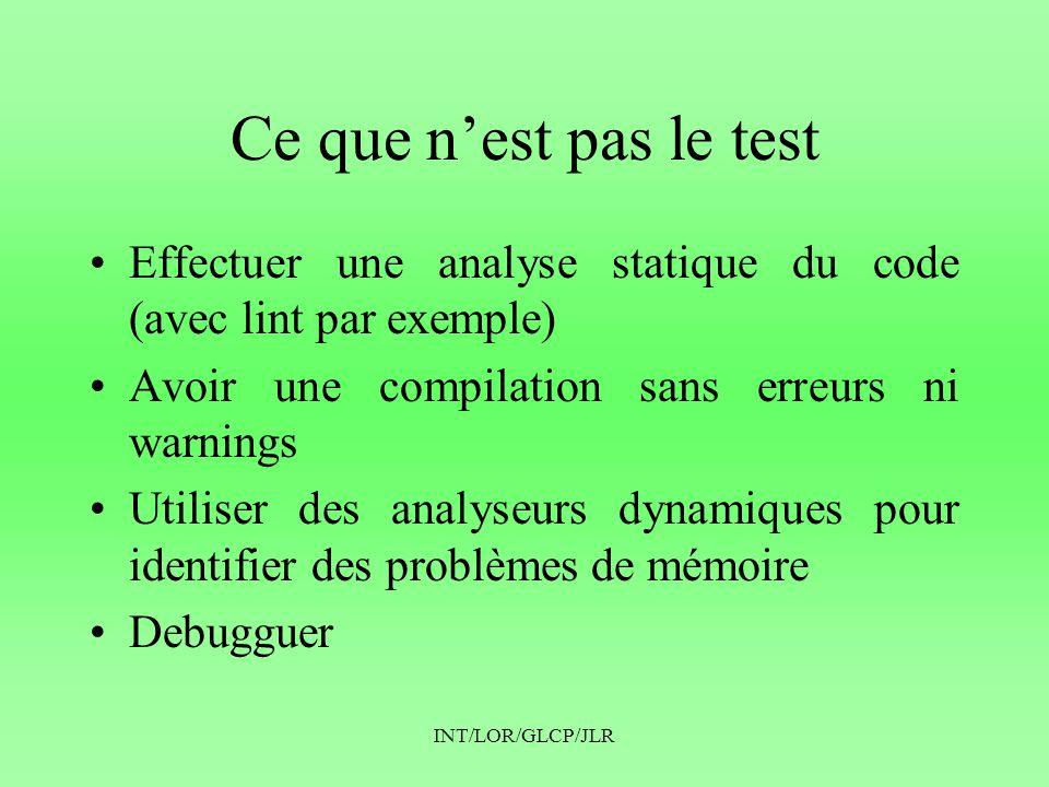 INT/LOR/GLCP/JLR Ce que n'est pas le test •Effectuer une analyse statique du code (avec lint par exemple) •Avoir une compilation sans erreurs ni warni