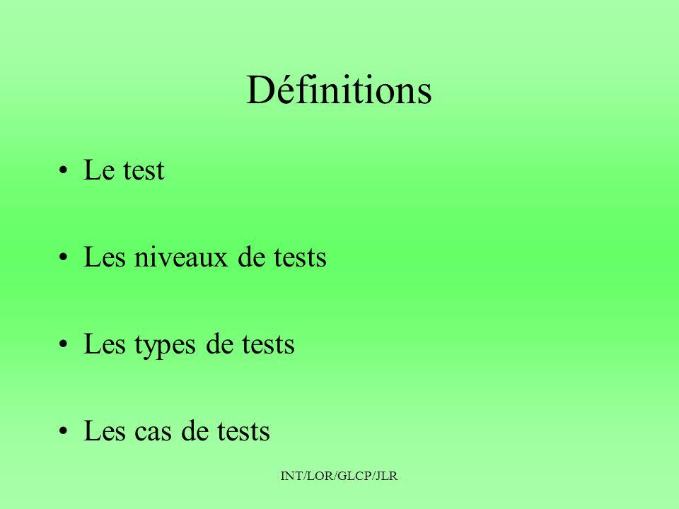 INT/LOR/GLCP/JLR Le test (IEEE) IEEE-STD 610.12-1990 • Le test est l exécution ou l évaluation d un système ou d un composant par des moyens automatiques ou manuels, pour vérifier qu il répond à ses spécifications ou identifier les différences entre les résultats attendus et les résultats observés