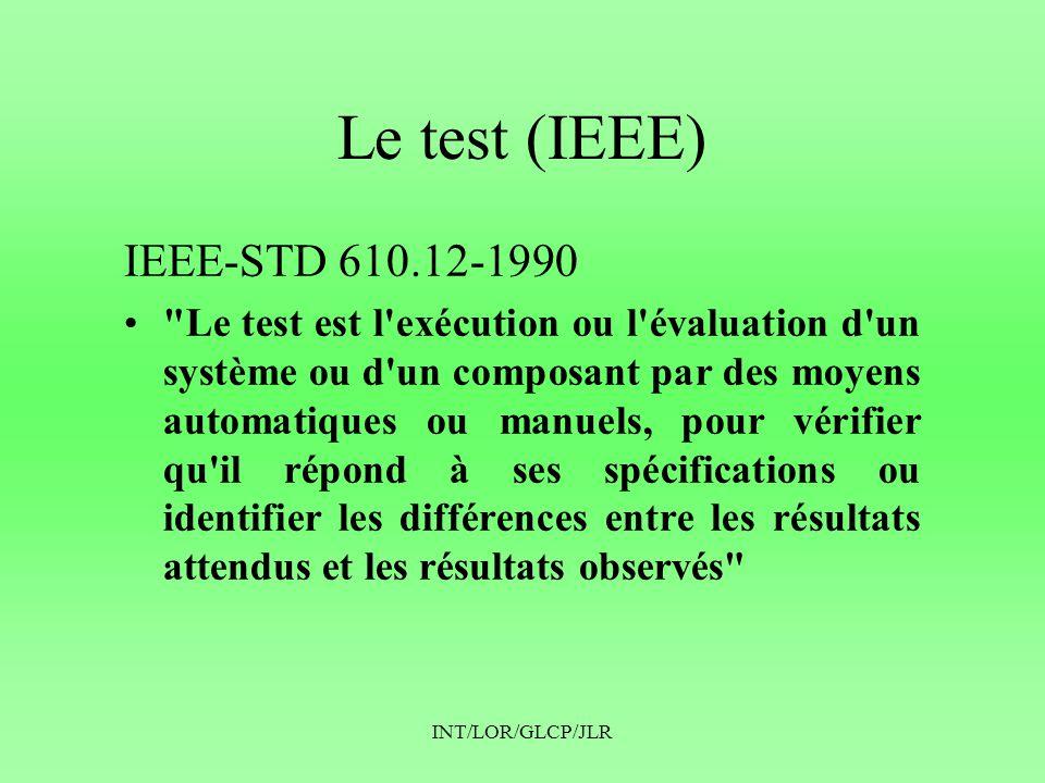 INT/LOR/GLCP/JLR Le test (IEEE) IEEE-STD 610.12-1990 •