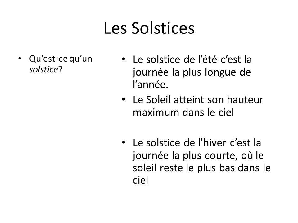 Les Solstices • Qu'est-ce qu'un solstice? • Le solstice de l'été c'est la journée la plus longue de l'année. • Le Soleil atteint son hauteur maximum d