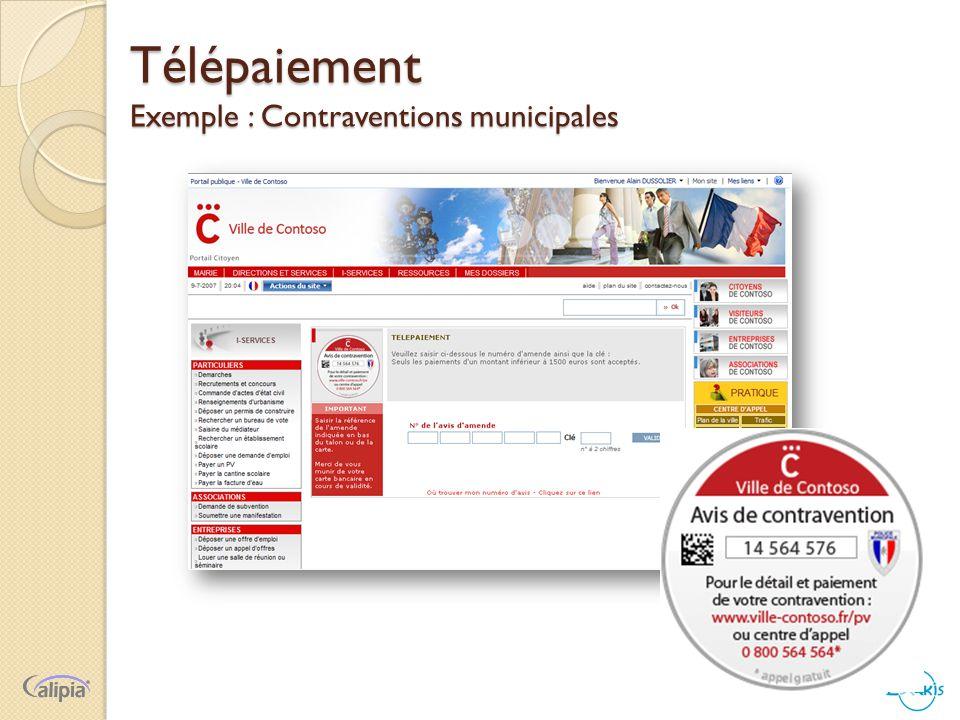 Télépaiement Exemple : Contraventions municipales