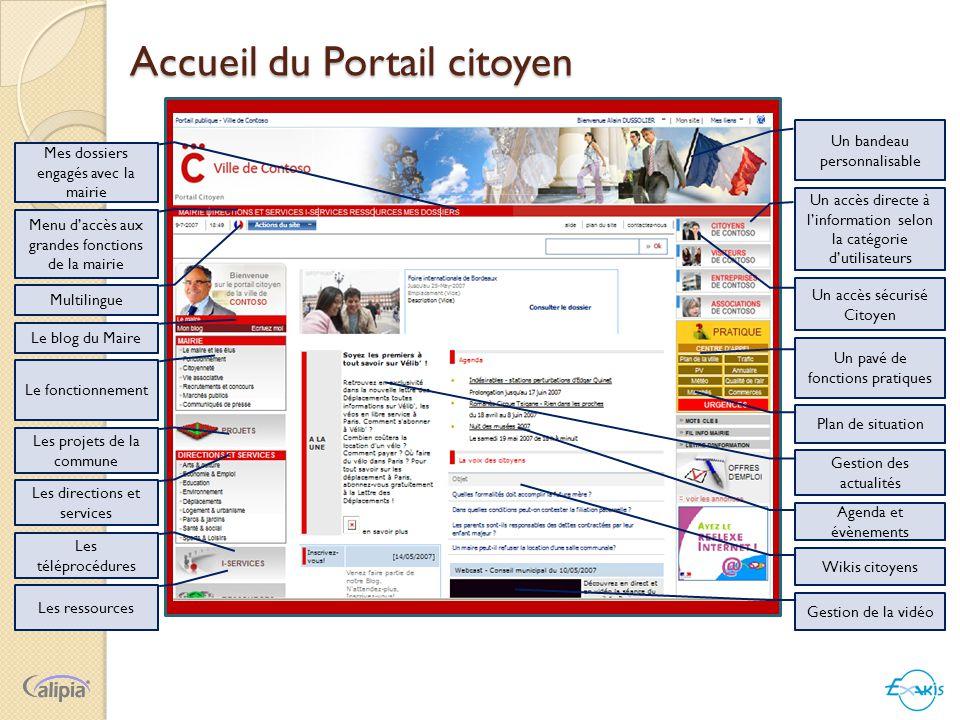 Accueil du Portail citoyen Un bandeau personnalisable Un accès directe à l'information selon la catégorie d'utilisateurs Un pavé de fonctions pratique